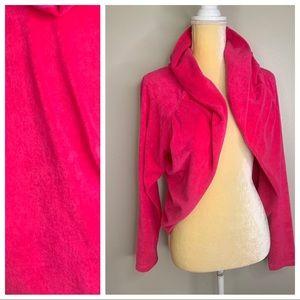 Boston Proper Pink Hooded Towel Sweater Shrug M